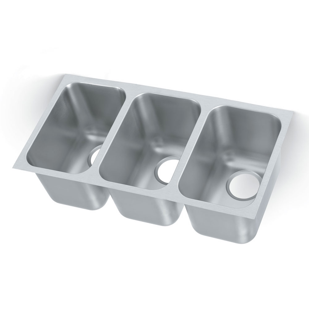 "Vollrath 9103-1 Weld-In Undermount Sink - 3-Bowl, 14"" x 9"" x 9.75"", 20-ga 304-Stainless"