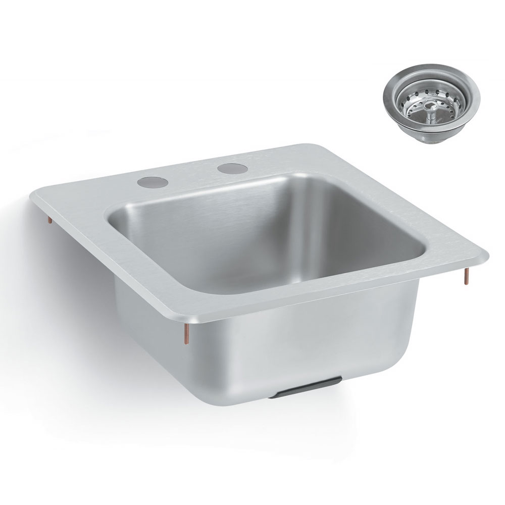 Vollrath K1554-C Yukon Bar/Waitress Drop-In Sink, Faucet, Strainer, 15x15""