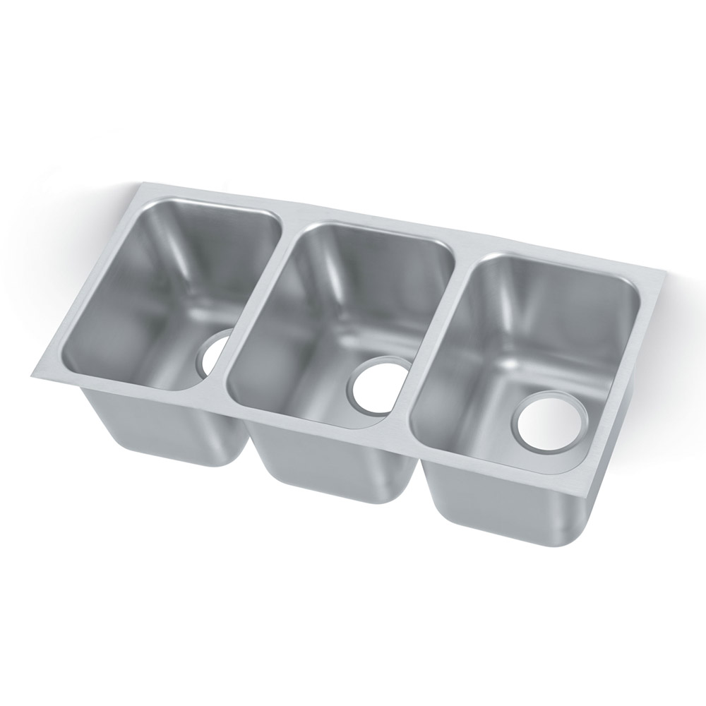 "Vollrath 10103-1 Weld-In Undermount Sink - (3) 14"" x 10"" x 10"" Bowls, 20-ga Stainless"