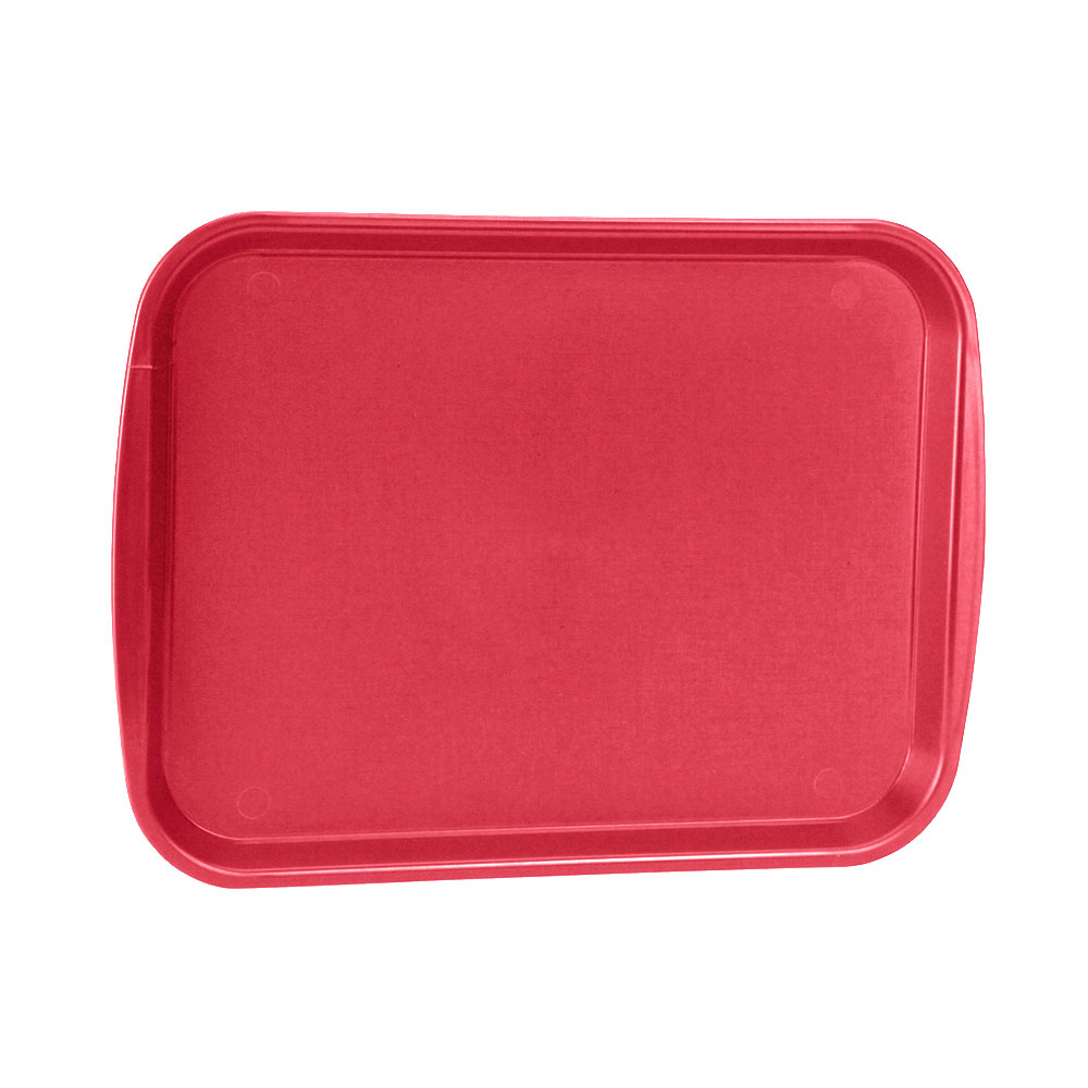 "Vollrath 1014-02 Rectangular Food Tray - Linen Look, 10-9/16 x 14-1/4"", Red"