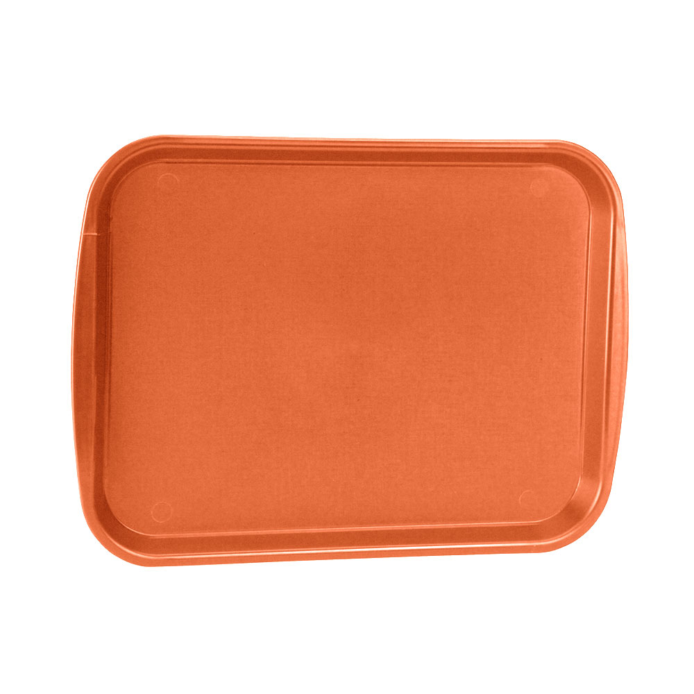 "Vollrath 1014-03 Rectangular Food Tray - Linen Look, 10-9/16 x 14-1/4"", Orange"