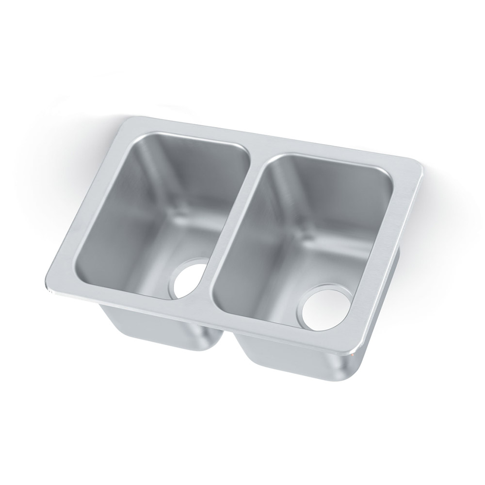 "Vollrath 102-1-1 2-Compartment Drop-In Sink w/ 3.5"" Drain, Stainless"