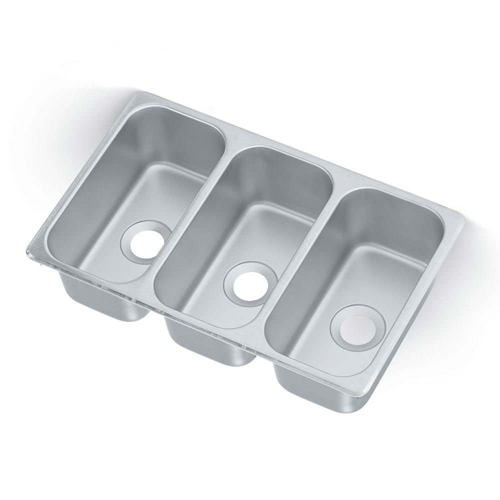 "Vollrath 12065-3 Vending Cart Drop In Sink - (3)12.13"" x 6.13"" x 5"" Bowls, 22 Ga Stainless"