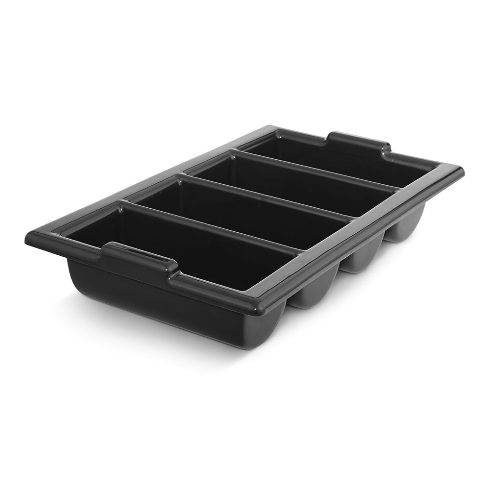 "Vollrath 1375-06 Four-Compartment Cutlery Box - Handles, 12-7/8 x 20-7/8"", Black"