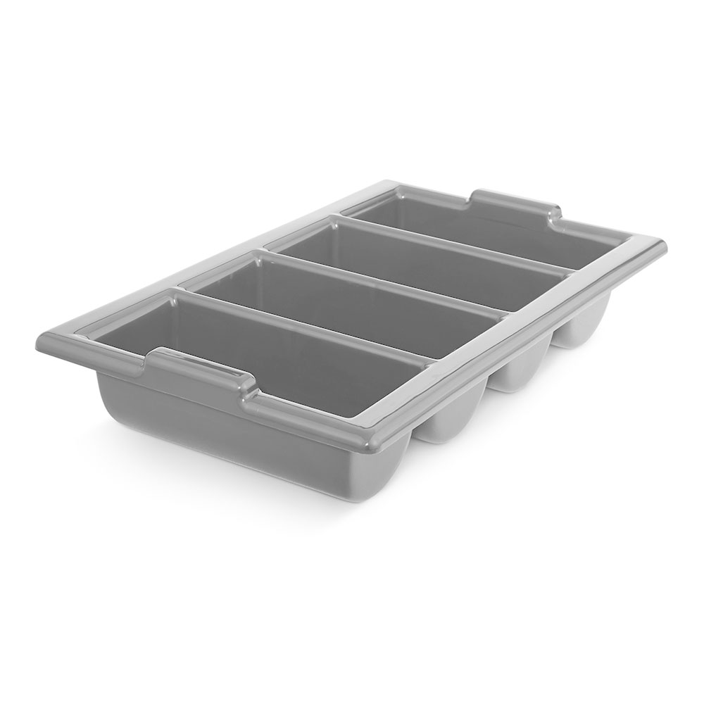 "Vollrath 1375-31 Four-Compartment Cutlery Box - Handles, 12-7/8 x 20-7/8"", Gray"