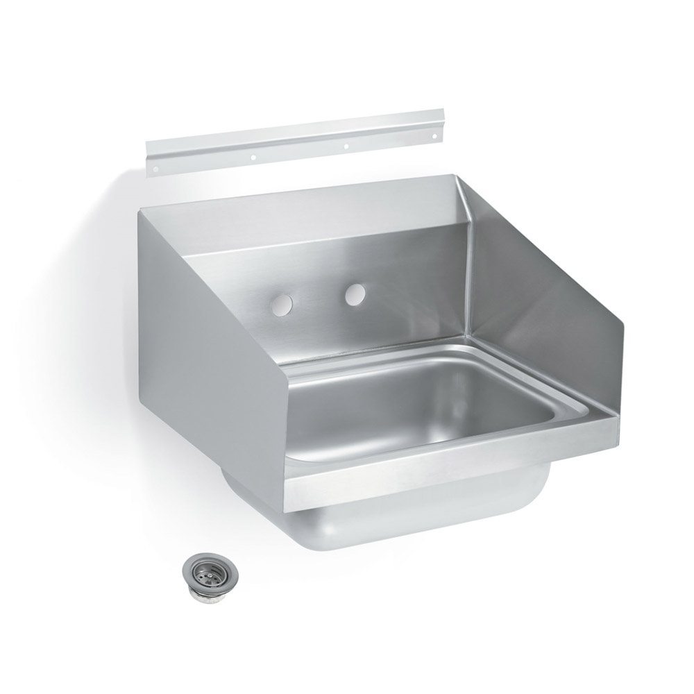 "Vollrath 1410-0 Wall Mount Commercial Hand Sink w/ 17""L x 15""W x 5.5""D Bowl, Side Splashes"