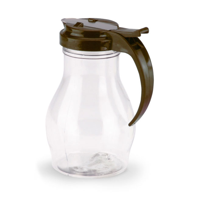 Vollrath 1414-01 Dripcut Server Jar, 16-oz, Clear Poly Jar w/ Brown Plastic Top