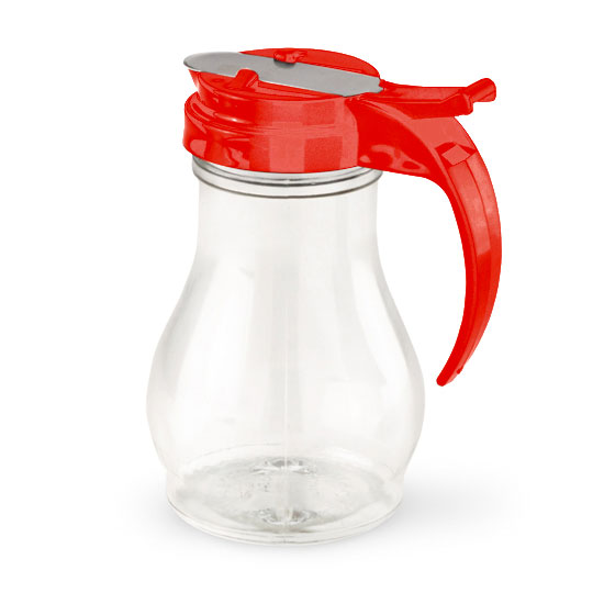 Vollrath 1414-02 16-oz Syrup Server - Red Plastic Cap, Poly, Clear