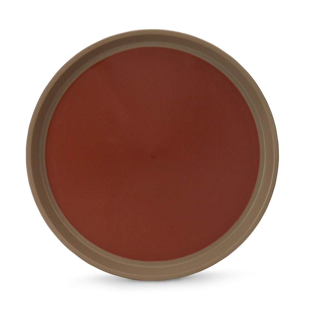 """Vollrath 1474-0901 14"""" Round Serving Tray - Reinforced Plastic, Brown/Tan"""