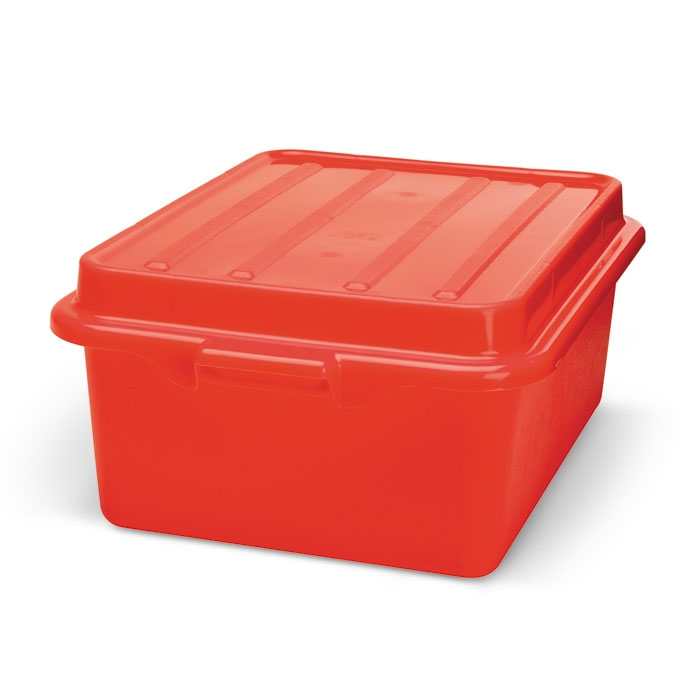 "Vollrath 1501-C02 Food Storage Drain Box - With Cover, 15x20x5"", Red"