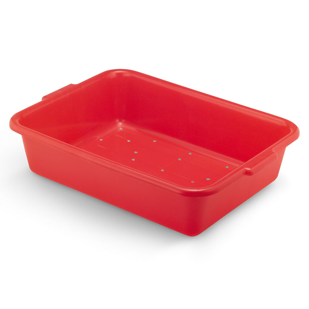 "Vollrath 1511-C02 Drain Box - Handles, 20x15x5"", Red"