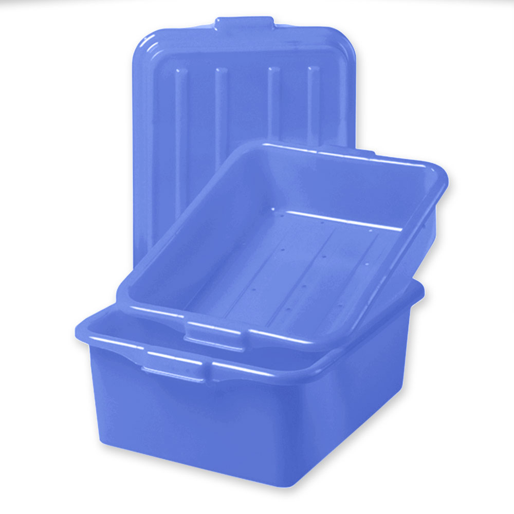 "Vollrath 1535-C04 Food Storage Box Combo - 5"" Drain, 7"" Box, Snap-On Lid, Blue"