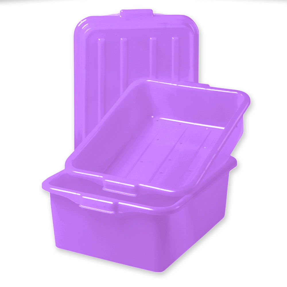 "Vollrath 1535-C80  Color-Mate Food Storage Box Combo - 5"" Drain, 7"" Box, Snap-On Lid, Purple"