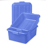 "Vollrath 1551-C04 Combo Food Storage Box - 5"" Drain, 7"" Box,  Snap-On Lid, Blue"