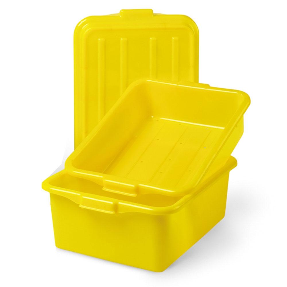 "Vollrath 1551-C08 Combo Food Storage Box, 5"" Drain, 7"" Box, Snap-On Lid, Yellow"