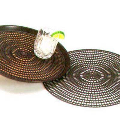 "Vollrath 1620-06 14-1/2"" Anti-Skid Tray Mats - Round, Black"