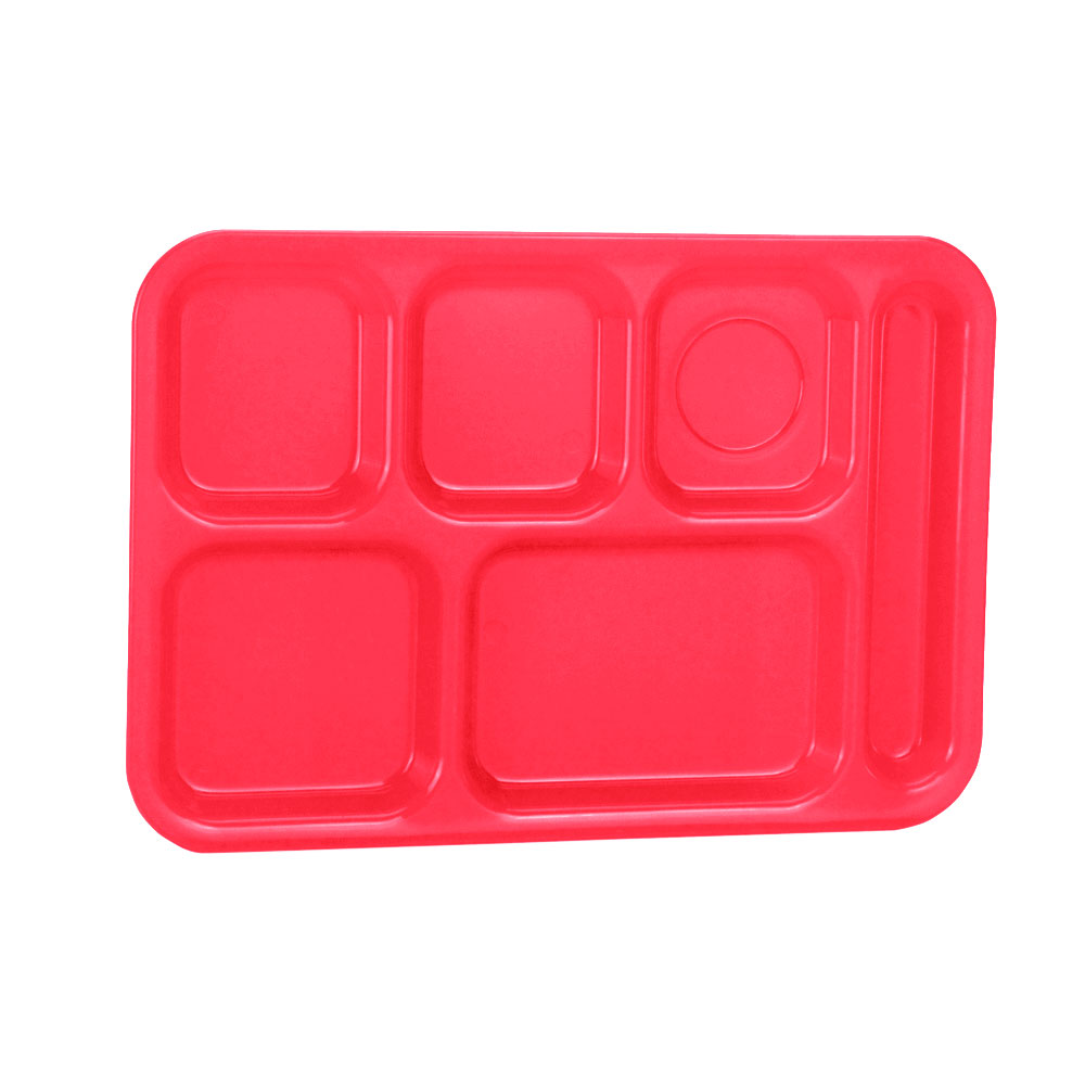 "Vollrath 2015-02 School Compartment Tray - Right Hand, 9-7/8x14-3/4"", Red"