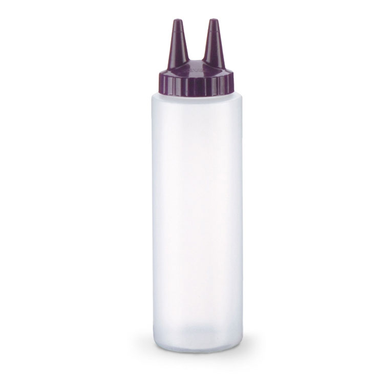 Vollrath 2208-1354 8-oz Twin Tip Squeeze Bottle - Clear with Purple Cap