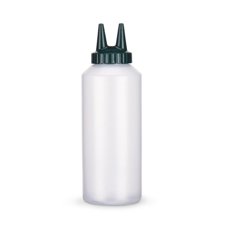 Vollrath 2212-13191 12-oz Twin Tip Squeeze Bottle - Clear with Vista Green Cap
