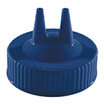 Vollrath 2300-44 Twin Tip Squeeze Bottle Replacement Cap - Wide Mouth, 16-32-oz, Blue