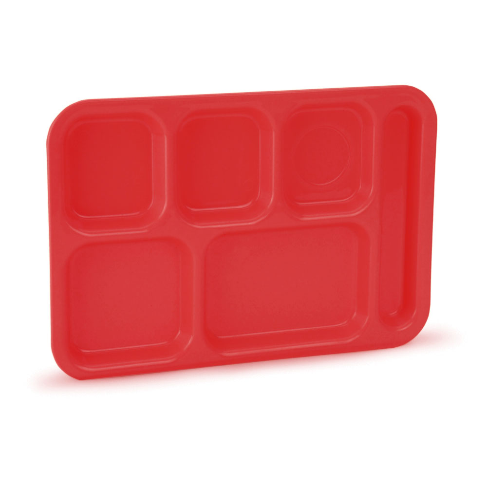 "Vollrath 2615-02 School Compartment Tray - Right Hand, 9-3/4x13-3/4"", Red"