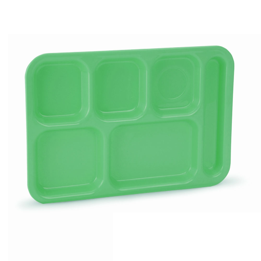 "Vollrath 2615-119 School Compartment Tray - Right Hand, 9-3/4x13-3/4"", Bright Green"
