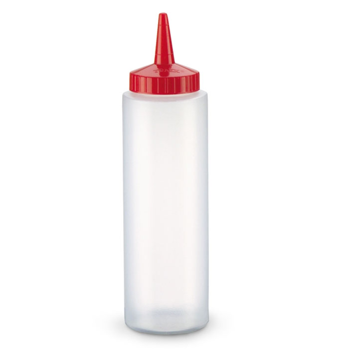 Vollrath 2808-1302 8-oz Squeeze Dispenser - Red Cap, Clear
