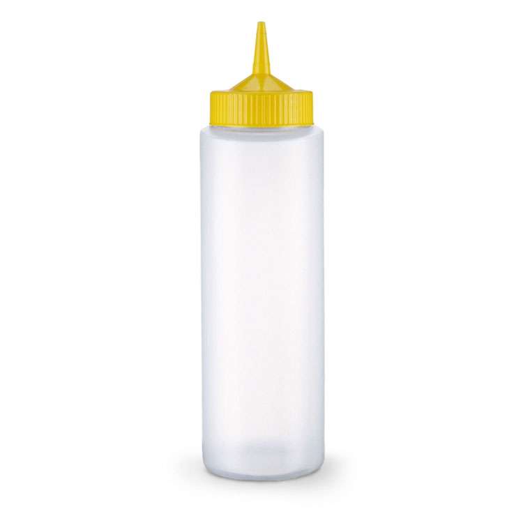 Vollrath 2812-1308 12-oz Squeeze Dispenser - Yellow Cap, Clear