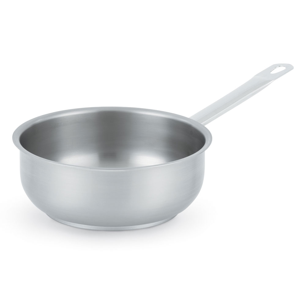 """Vollrath 3151 7-3/4"""" Induction Saute Pan - Curved, Aluminum Bottom, 18-ga Stainless"""