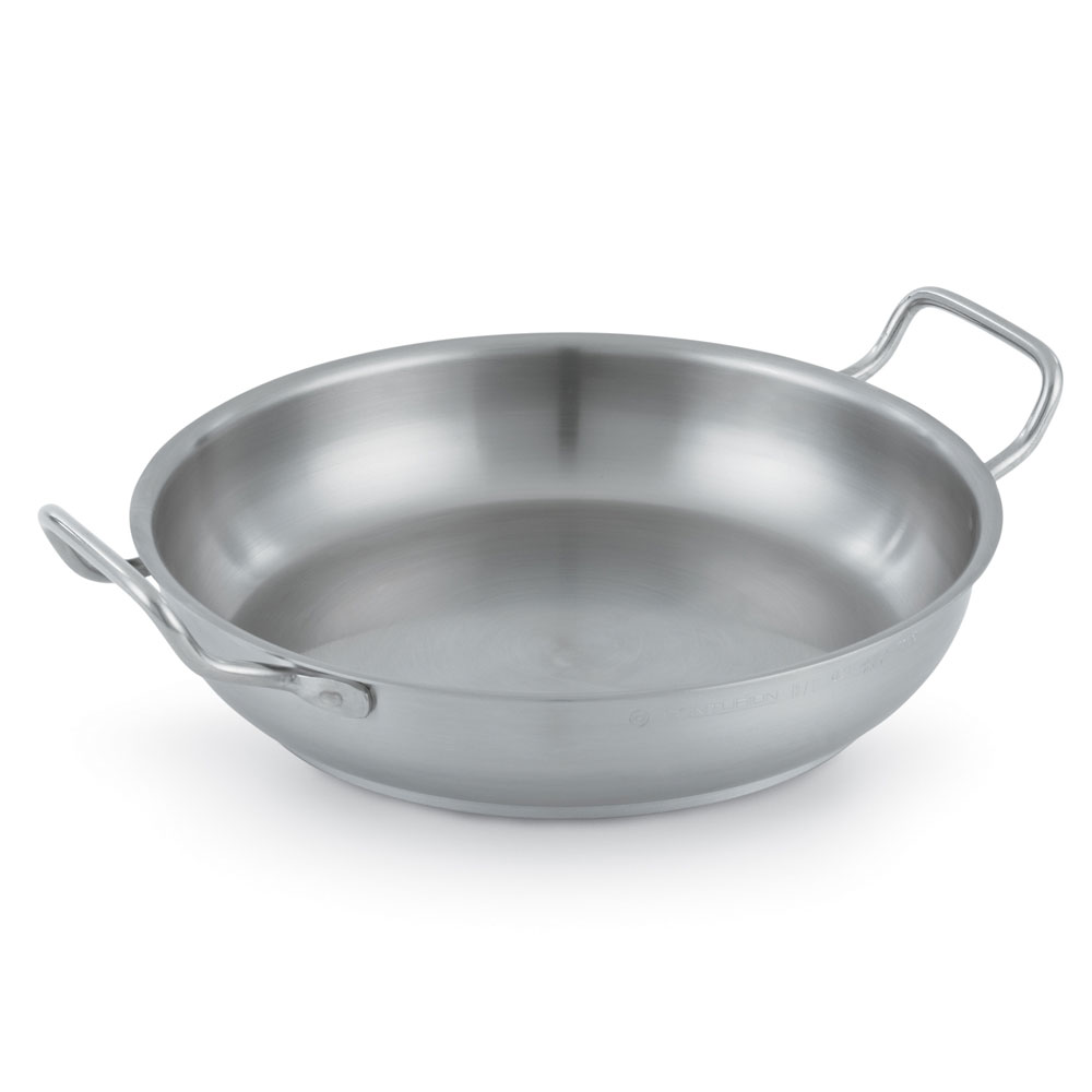 """Vollrath 3155 11"""" Induction French Omelet Pan - Aluminum Bottom, 18-ga Stainless"""