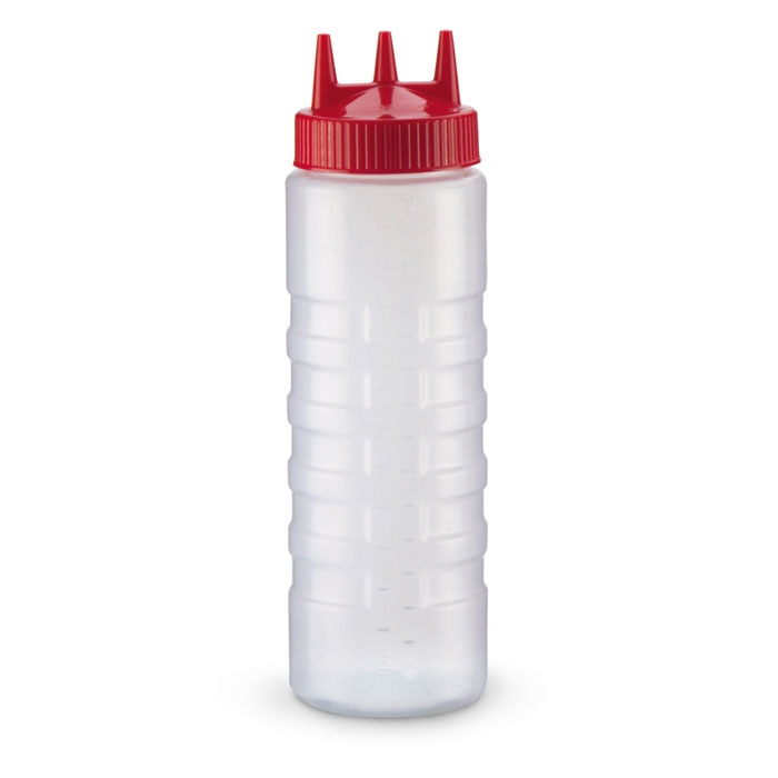 Vollrath 3324-1302 24-oz Squeeze Dispenser - Wide Mouth, Red Cap, Clear