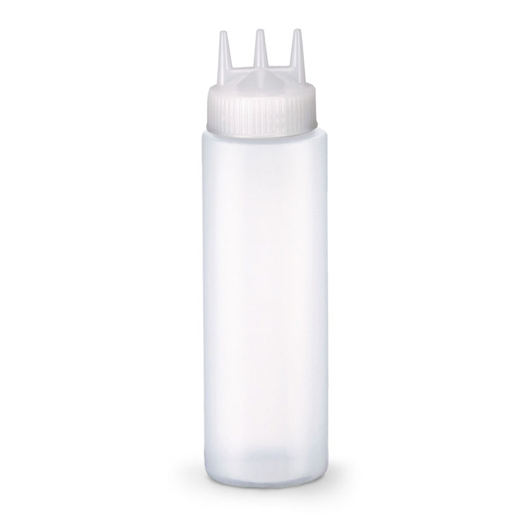 Vollrath 3324RSK-13 24-oz Squeeze Dispenser with Funnel - Wide Mouth, Clear Cap, Clear