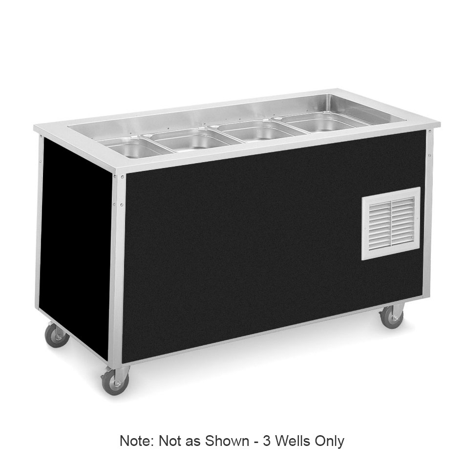 "Vollrath 36146 Refrigerated Cold Food Bar - 3 Full Size Pan 6"" Deep Wells, 30x46x28, Black"