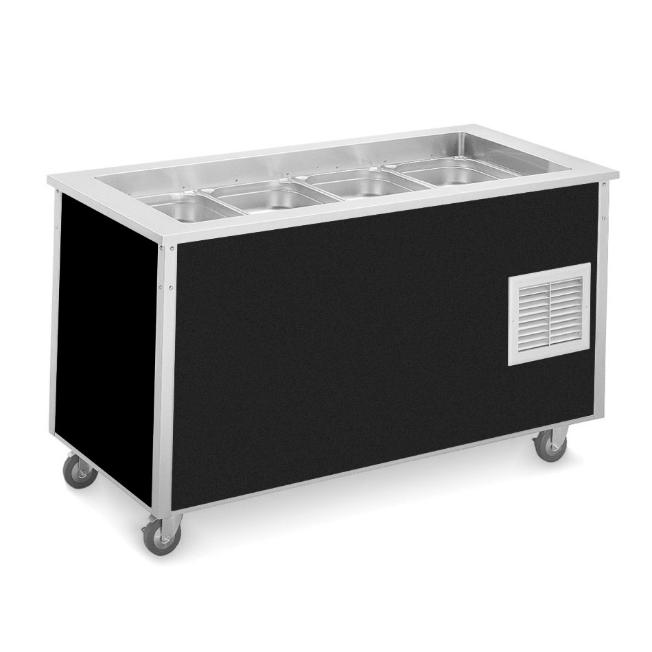 "Vollrath 36166 Refrigerated Cold Food Bar - 4 Full Size Pan 6"" Deep Wells, 30x60x28, Black"