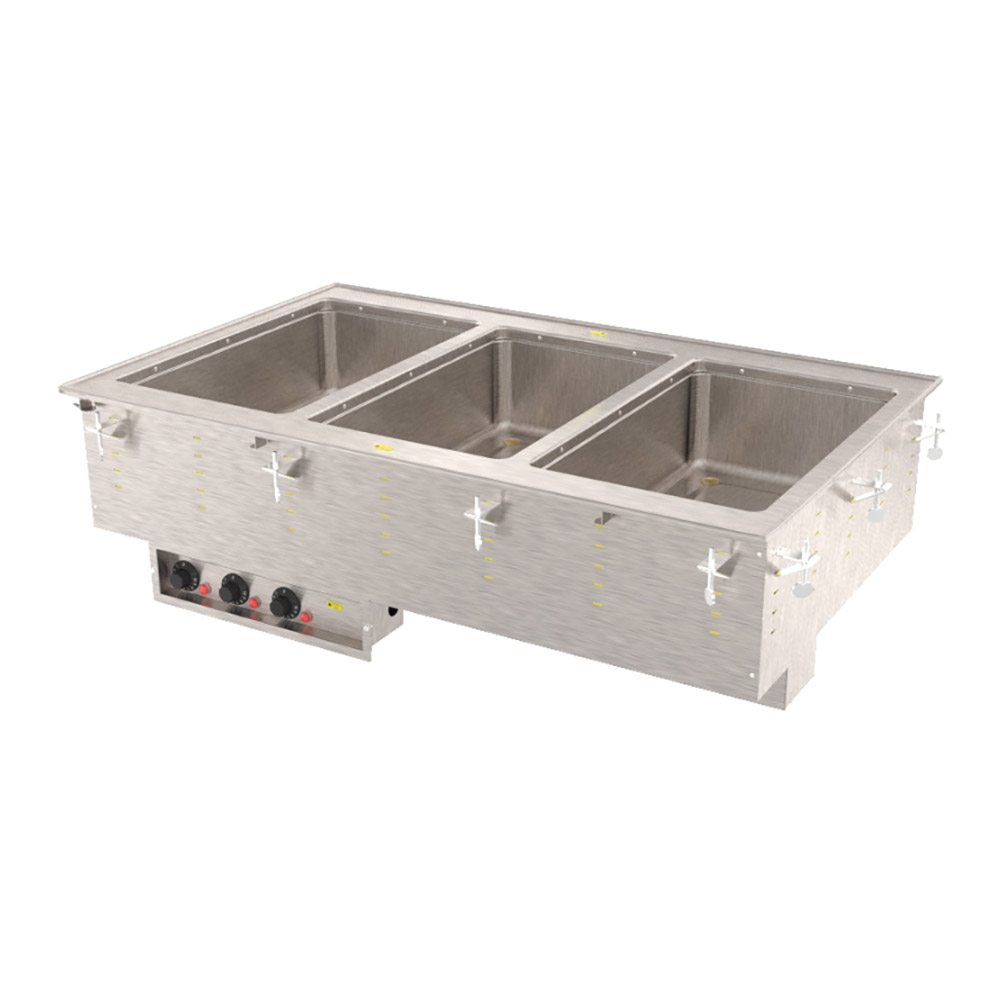 Vollrath 3647380 3-Well Modular Drop-In - Auto-Fill, Thermostat, Manifold Drain, 625W 240v