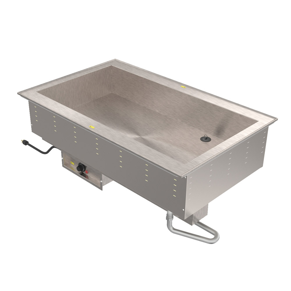 Vollrath 36504 240 4-Well Bain Marie Drop-In - Thermostat Control, Standard Drain, 2500W 240v