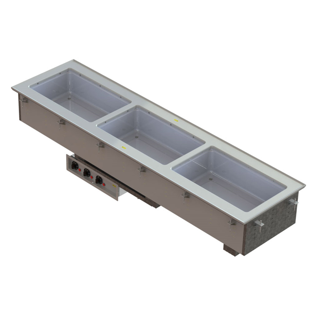 Vollrath 3664930 3-Well Short-Sided Drop-In - Auto-Fill, Infinite, Manifold, 750-1000W 208-240v