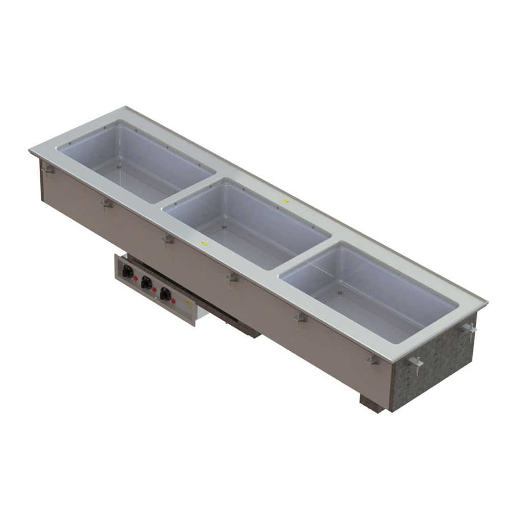 Vollrath 36649 3-Well Short-Sided Drop-In - Infinite, Standard Drain, 750-1000W 208-240v