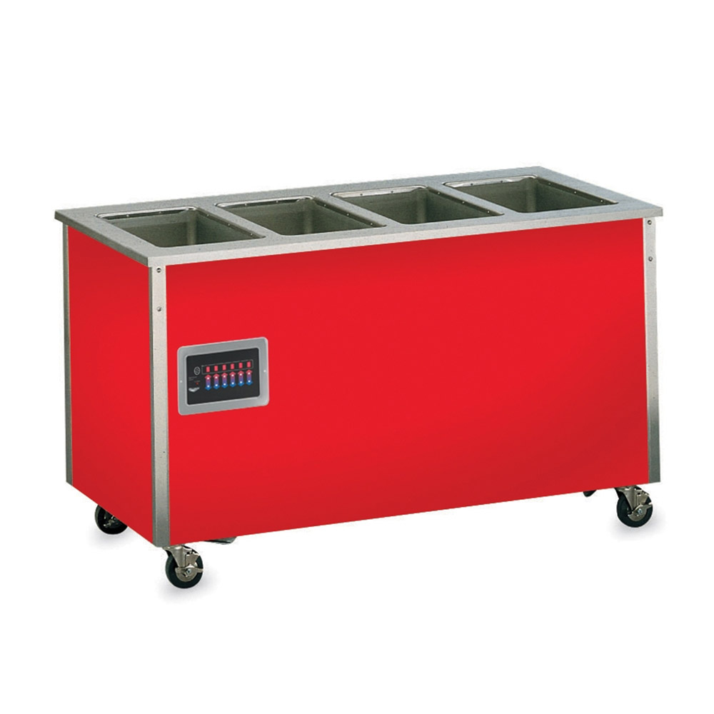 Vollrath 37040 4-Well Hot Food Station - Enclosed Base, Thermostat, Manifold Drain, 34x60x28