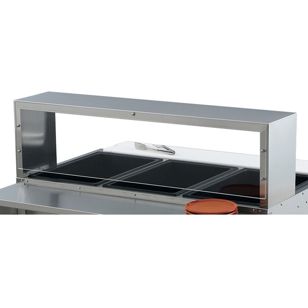 "Vollrath 38055 76"" Single Deck Cafeteria Breath Guard - 76x10x13"" Plexiglas Guard, Stainless"