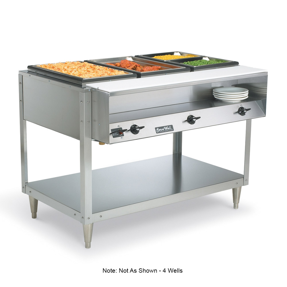 Vollrath 38104 4-Well Hot Food Table - (4)Thermostat, Plate Rest, Cutting Board, 120v
