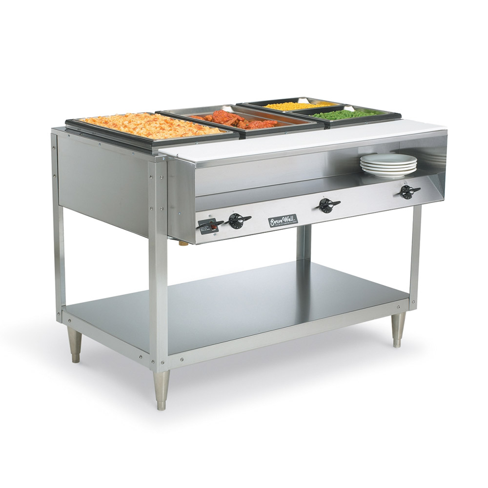 Vollrath 38117 Servewell Hot Food Buffet Table 3 No Drip Wells Peg Legs 208/240 Restaurant Supply