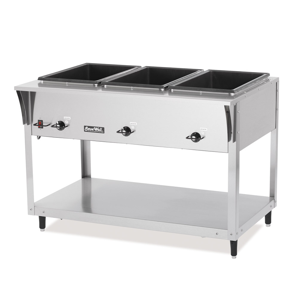 Vollrath 38213 ServeWell SL Hot Food Table 3 Well 300 Series SS 120 V 700 Watts Restaurant Supply