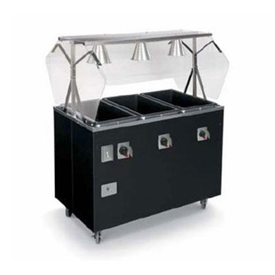 Vollrath 387072 3-Well Hot Food Station - Breath Guard, Solid Base, Black 208-240v