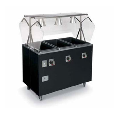 Vollrath 38707 3 Well Portable Hot Food Station Breath Guard 120V 46 in Black Restaurant Supply