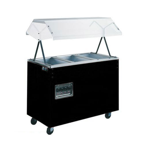 Vollrath 38708 3-Well Hot Food Station - Breath Guard, Open Base, Black 120v