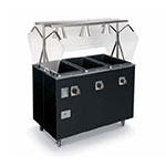 Vollrath 38709 3-Well Hot Food Station - Breath Guard, Storage Base, Black 120v