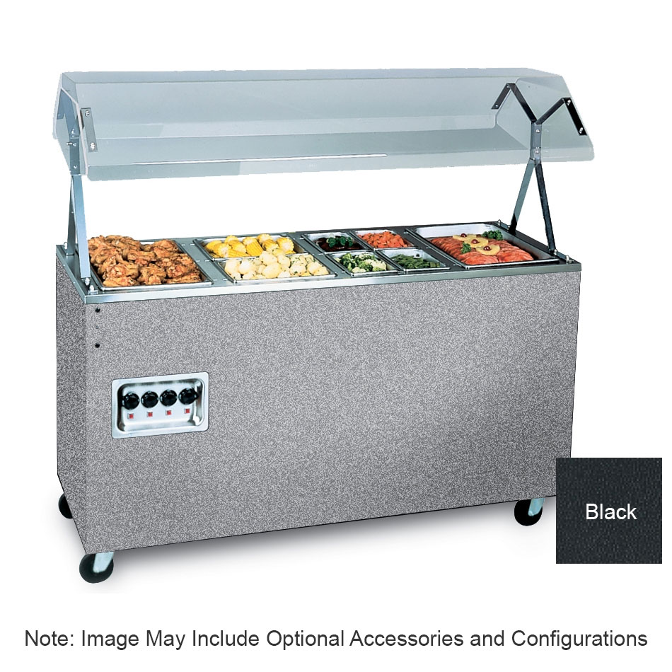 Vollrath 38709464 3-Well Hot Food Station - Lights, Breath Guard, Storage Base, Black 120/208-240v