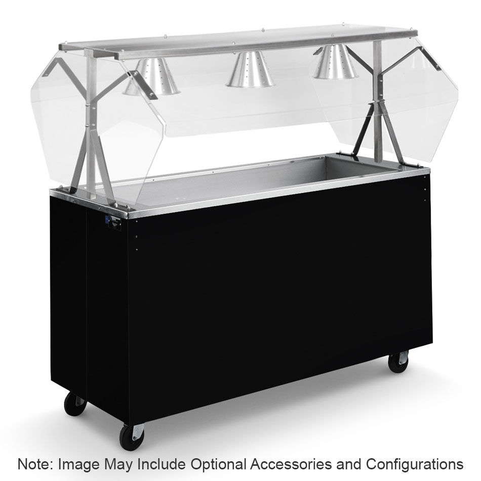 Vollrath 3871546 3-Well Cold Food Station - Lights, Breath Guard, Non-Refrigerated, Storage Base