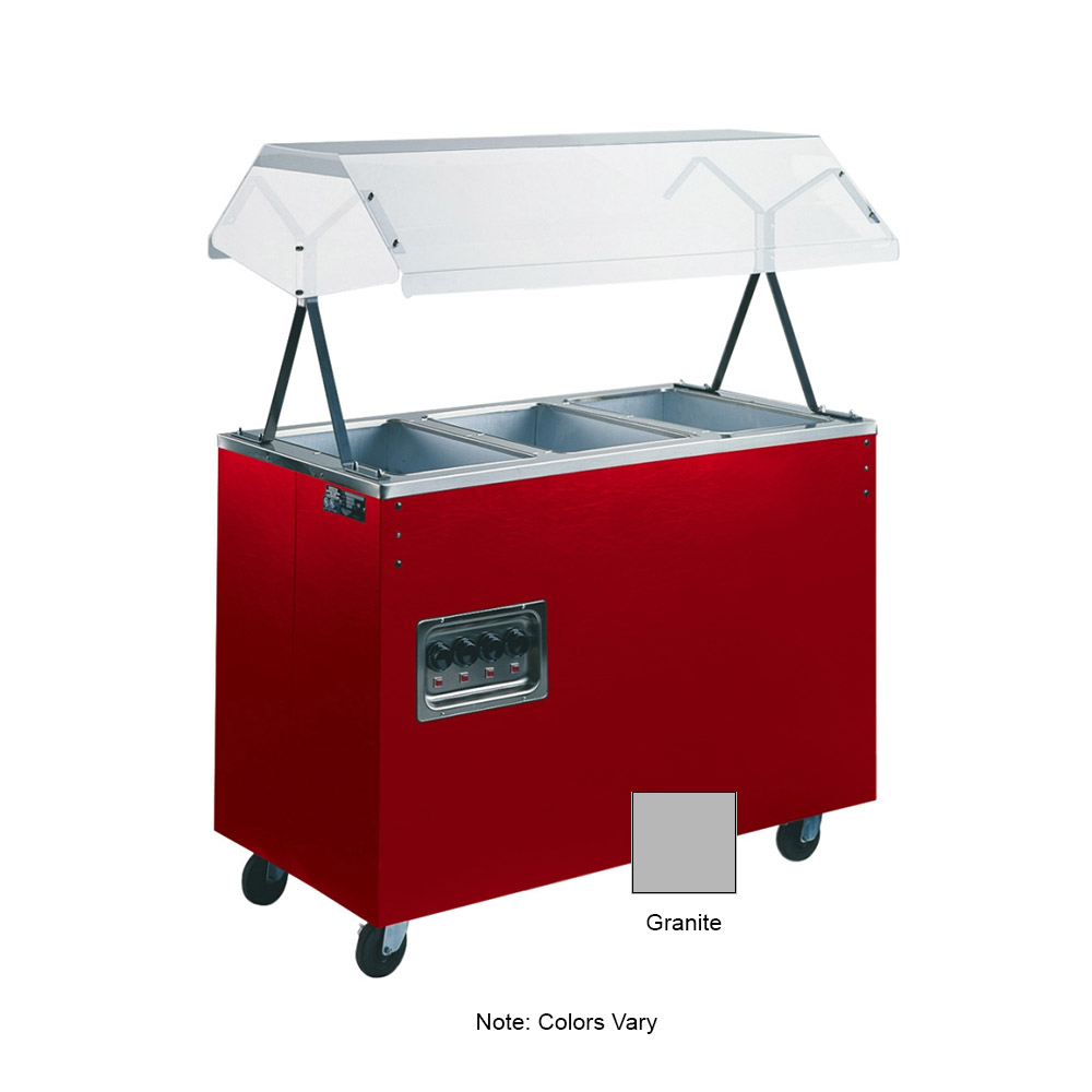 Vollrath 38729 3-Well Hot Food Station - Breath Guard, Storage Base, Granite 120v